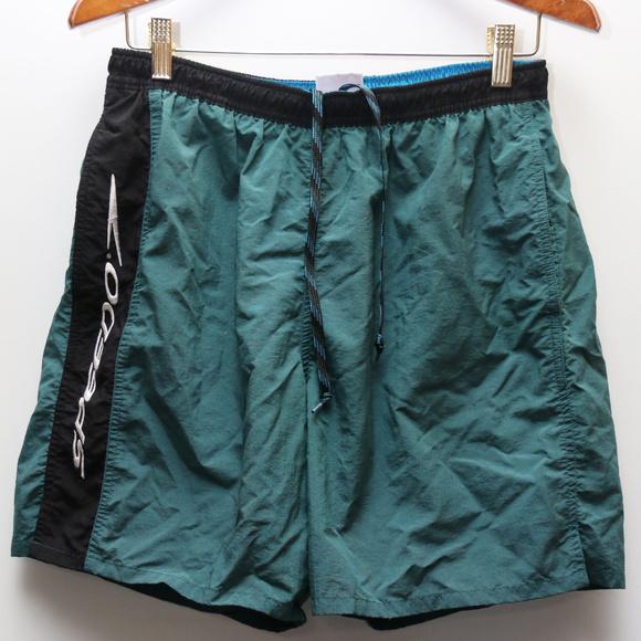 c3f5bd4f72 Speedo Swim | 90s Vintage Logo Green Shorts | Poshmark